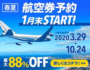 航空券予約START!最大88%OFF!スカイチケット