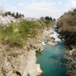 岩手県一関の観光名所・厳美渓と桜