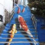 梨花洞で見つけた錦鯉の路上アート