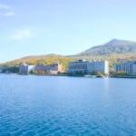 洞爺湖 温泉街(遊覧船からの眺め)