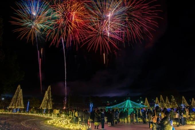 木曽三川公園の花火とイルミネーション 冬の光物語