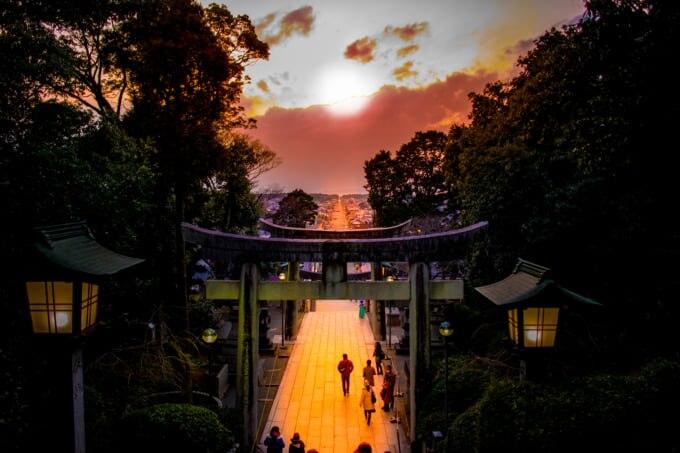 福岡の世界遺産である宮地嶽神社の光の道